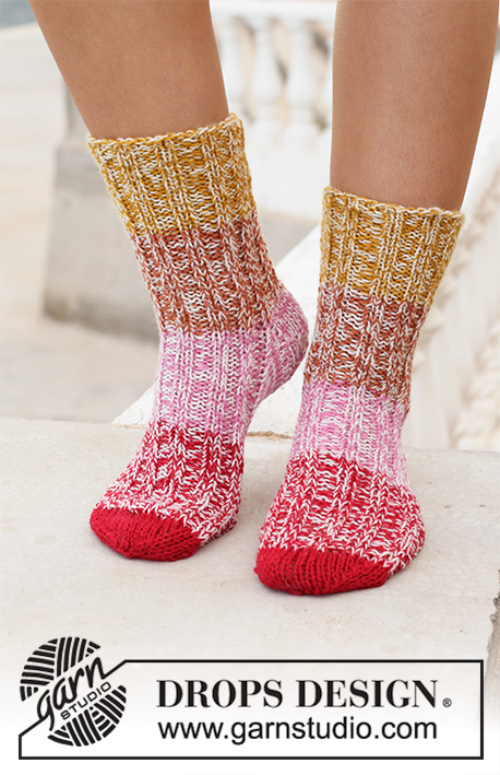 Rocky Mountain Sunrise / DROPS 198-13 - Knitted socks in DROPS Fabel. Piece is knitted in 2 strands with stripes and rib. Size EU 35-43 = US 5-10 1/2.