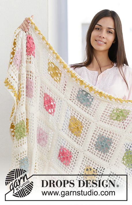 Garden Patches / DROPS 198-3 - Crocheted blanket in DROPS Cotton Merino. The piece is worked with crochet squares in different colours.