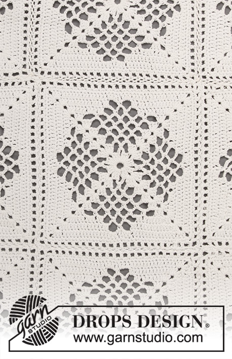 Asta / DROPS 198-4 - Crocheted blanket in DROPS Safran. The piece is worked with lace pattern and squares.