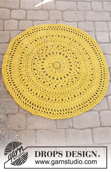 Sunblast / DROPS 198-6 - Crocheted carpet in DROPS Paris. Crocheted in the round in 3 strands Paris.