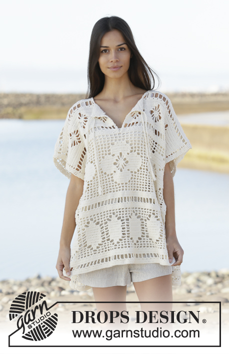 Carefree Summer / DROPS 199-16 - Crocheted poncho with lace pattern in DROPS Cotton Light. The piece is worked top down. Sizes S - XXXL.