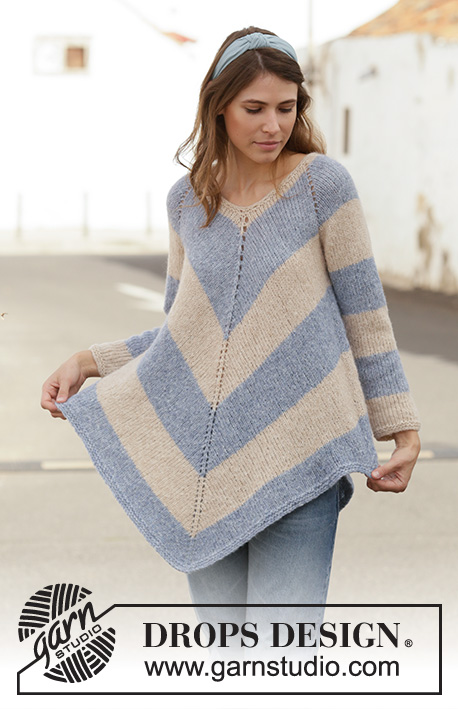 Blue Pagoda / DROPS 199-25 - Knitted poncho jumper in DROPS Air. The piece is worked top down with raglan and stripes. Sizes S - XXXL.