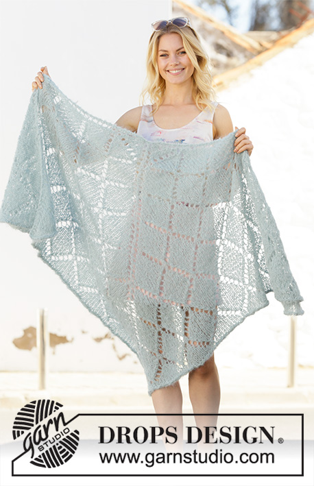 Lucy in the Sky / DROPS 199-27 - Knitted shawl in DROPS Melody. The piece is worked top down with lace pattern.