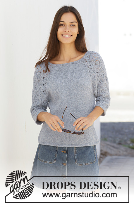 Blue Nostalgia / DROPS 199-3 - Knitted jumper with raglan in DROPS Sky. The piece is worked top down with lace pattern on sleeves. Sizes S – XXXL.
