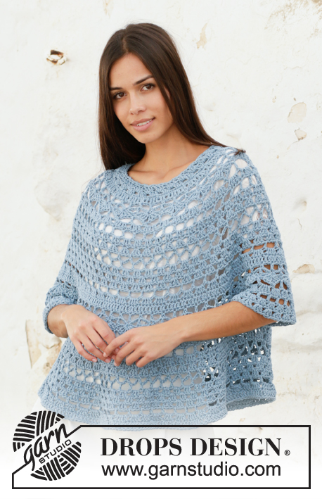 Mermaid Shell / DROPS 199-35 - Crocheted poncho sweater in DROPS Big Merino. Piece is crocheted top down with lace pattern. Size: S - XXXL