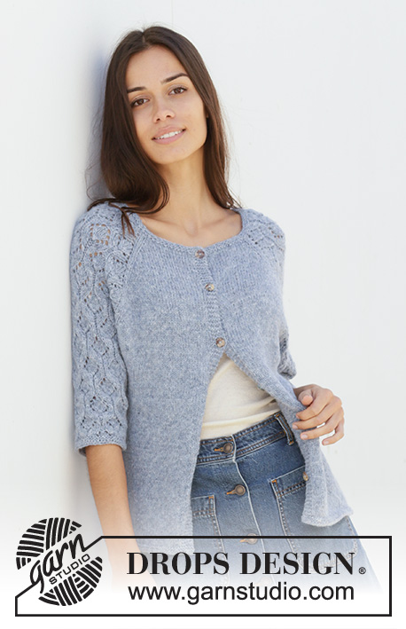 Blue Nostalgia Cardigan / DROPS 199-4 - Knitted jacket with raglan in DROPS Sky. The piece is worked top down with lace pattern on sleeves. Sizes S – XXXL.