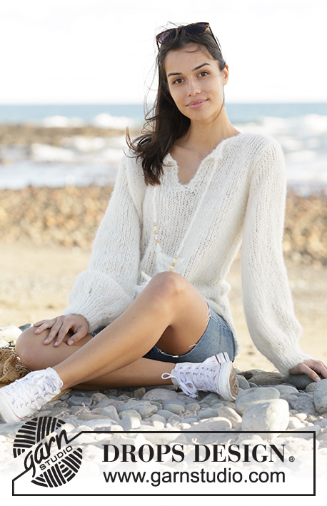 White Feather / DROPS 199-43 - Knitted jumper in DROPS Melody. Size: S - XXXL