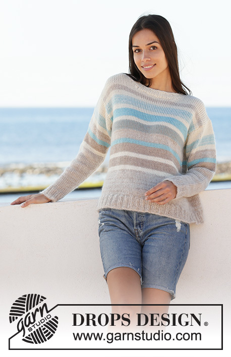 Water Lines / DROPS 199-5 - Knitted jumper with stripes in DROPS Alpaca. Sizes S - XXXL.