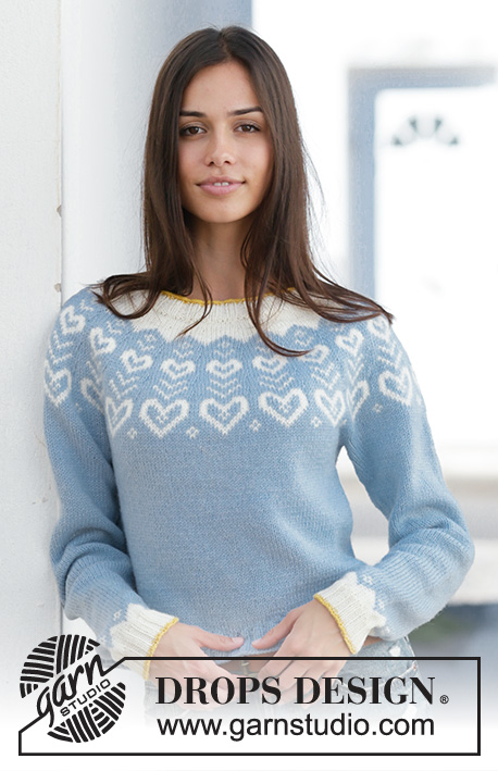 Dear to my Heart Sweater / DROPS 199-7 - Knitted jumper in DROPS Merino Extra Fine. The piece is worked top down with round yoke and Nordic pattern. Sizes S - XXXL.