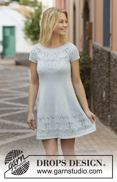 Moonshine Dance / DROPS 199-9 - Knitted dress with round yoke in DROPS Muskat. The piece is worked with lace and tulip pattern. Sizes S - XXXL.