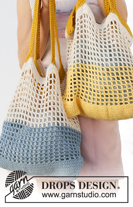 Back to the Beach / DROPS 200-1 - Crocheted bags with stripes in DROPS Paris. The piece is worked in the round, bottom up.