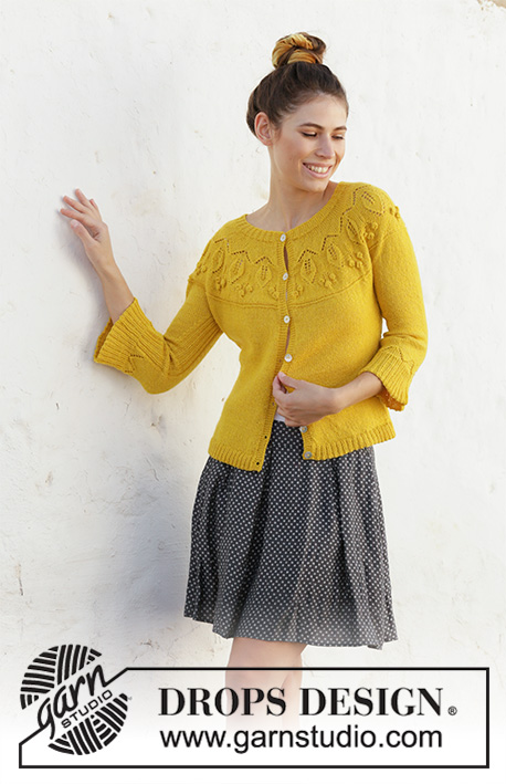 Summer Twinkle / DROPS 200-11 - Knitted jacket with leaf pattern, bobbles, round yoke and ¾-length sleeves. The piece is worked in DROPS Flora, top down. Sizes S - XXXL.