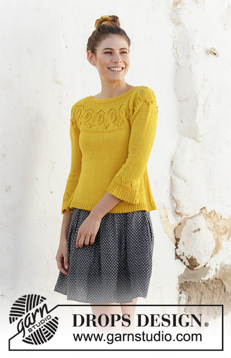 Summer Twinkle Sweater / DROPS 200-12 - Knitted sweater with leaf pattern, bobbles, round yoke and ¾-length sleeves. The piece is worked in DROPS Flora, top down. Sizes S - XXXL.