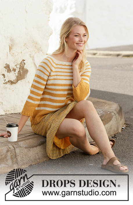 Let the Sun In Sweater / DROPS 200-14 - Knitted jumper with raglan and stripes in 2 strands DROPS Alpaca. Worked top down. Size: S - XXXL