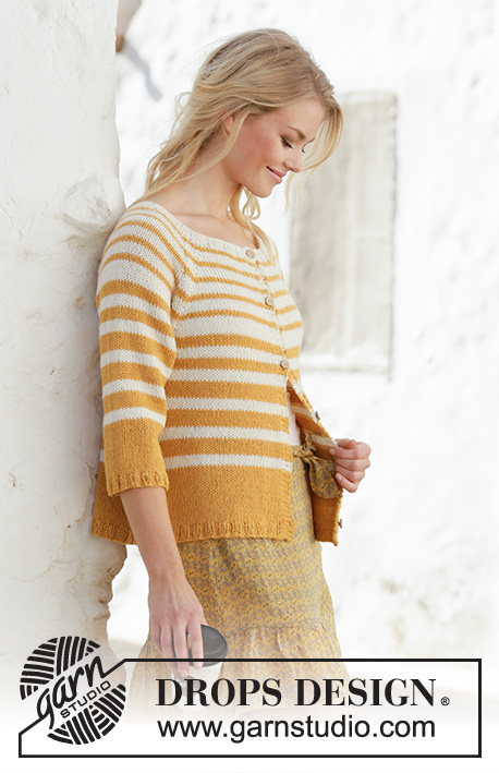 Let the Sun In / DROPS 200-15 - Knitted jacket with raglan and stripes in 2 strands DROPS Alpaca. Worked top down. Size: S - XXXL
