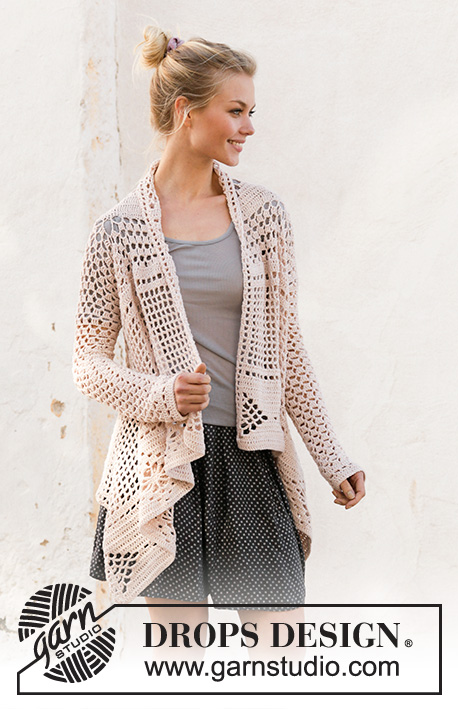 Blossoming Beauty / DROPS 200-16 - Crocheted square jacket in DROPS Cotton Merino. The piece is worked with lace pattern. Sizes S - XXXL.