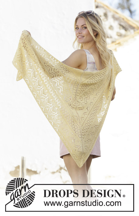 Lemon Heart / DROPS 200-19 - Knitted shawl in DROPS BabyAlpaca Silk. The piece is worked top down with lace pattern and garter stitch.