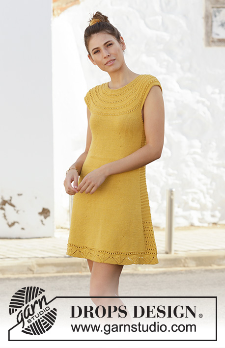 Desert Whispers / DROPS 200-2 - Knitted dress in DROPS Cotton Light. The piece is worked top down, with lace pattern, garter stitch and stocking stitch. Sizes S – XXXL.