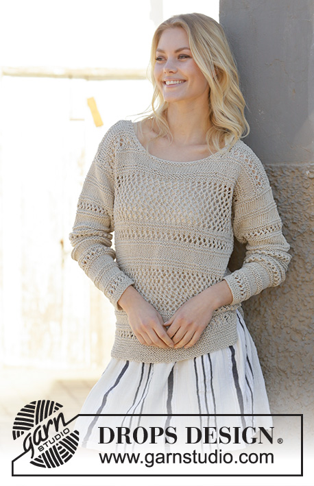 Mahala / DROPS 200-20 - Knitted sweater in DROPS Bomull-Lin or DROPS Paris. The piece is worked with lace pattern and garter stitch. Sizes S – XXXL.