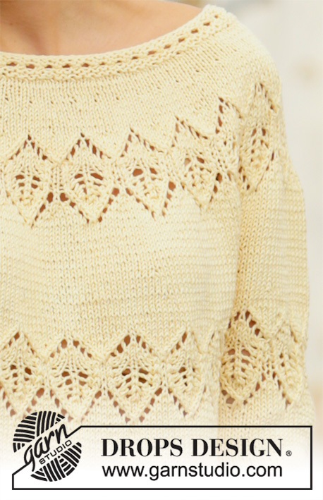 Spring Symmetry / DROPS 200-26 - Knitted jumper in DROPS Muskat. The piece is worked top down with round yoke, lace pattern and ¾-length sleeves. Sizes S - XXXL.