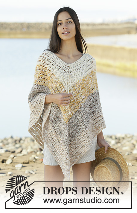 Beach Paradise / DROPS 200-32 - Crochet poncho with stripes in DROPS Alpaca. Piece is crocheted top down with 2 strands Alpaca. Size: S - XXXL