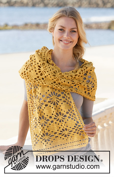 Butterfly Migration Wrap / DROPS 200-34 - Crocheted stole in DROPS Cotton Merino. Piece is crocheted with lace pattern.