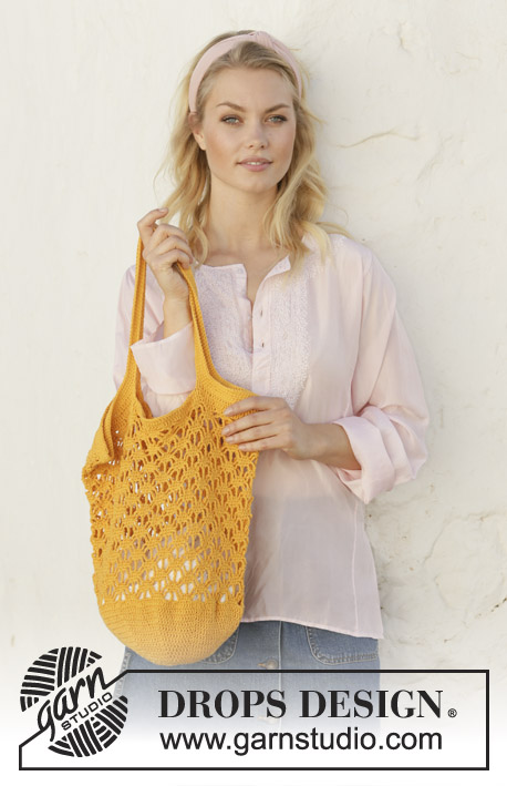 Pineapple Tote / DROPS 200-35 - Sac crocheté en rond, en point ajouré, en DROPS Safran.