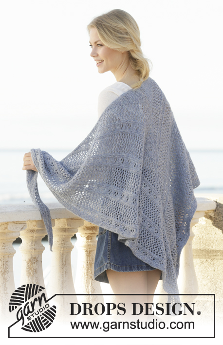 Midnight Mingle / DROPS 201-12 - Knitted shawl in DROPS Sky. The piece is worked with lace pattern and garter stitch.