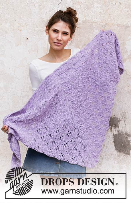 Lilac Bouquet / DROPS 201-17 - Knitted shawl in DROPS Alpaca. Piece is knitted top down with lace pattern and garter stitch.