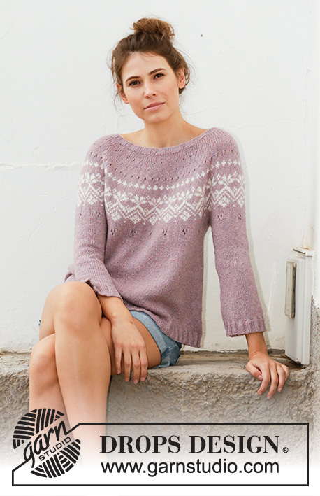Rosewood / DROPS 201-2 - Knitted jumper in DROPS Sky. The piece is worked top down with round yoke, Nordic pattern, A-shape and ¾-length sleeves. Sizes S - XXXL.