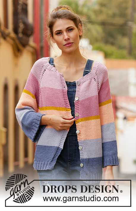 Sonora Sunrise / DROPS 201-34 - Knitted jacket with raglan in DROPS Paris. Piece is knitted top down with stripes. Size: S - XXXL