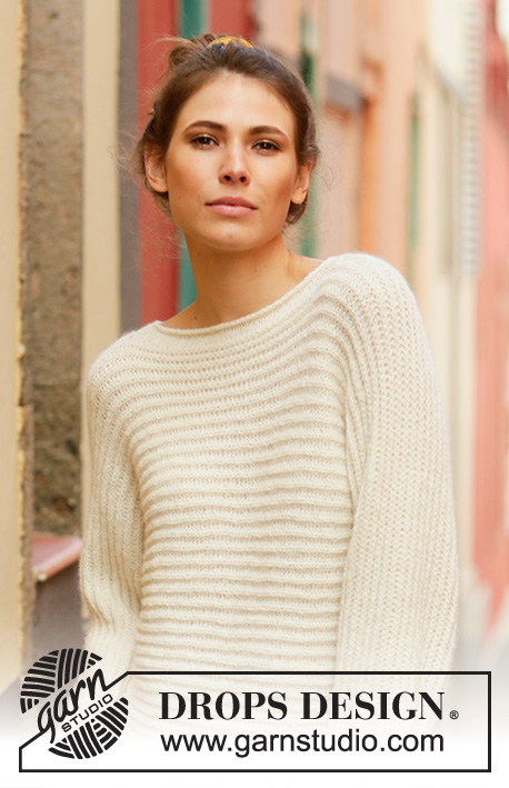 Daily Wonder / DROPS 201-7 - Sweater knitted sideways in DROPS Sky. The piece is worked in English rib. Sizes S - XXXL.