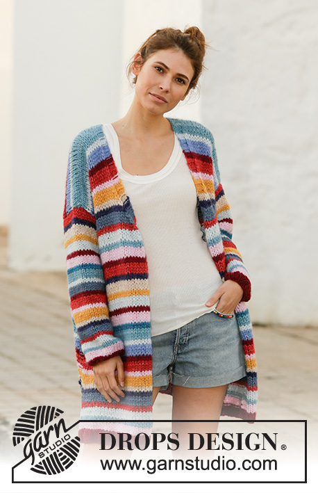 Color Clash / DROPS 202-2 - Knitted jacket with stripes in 2 strands DROPS Air. Piece is knitted bottom up with V-neck and vents in the sides. Size: S - XXXL