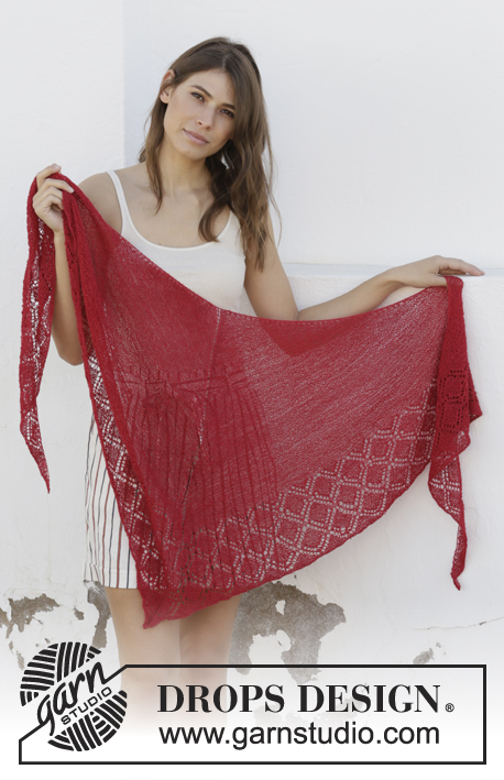 Glowing Embers / DROPS 202-20 - Knitted shawl in DROPS Lace or DROPS Alpaca. The piece is worked top down with garter stitch and lace pattern.