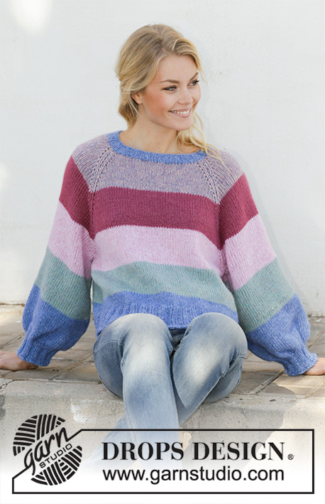 Sweet Country Sunrise / DROPS 202-22 - Knitted jumper with stripes, balloon sleeves and raglan. Piece is worked in DROPS Air, top down. Size: S - XXXL