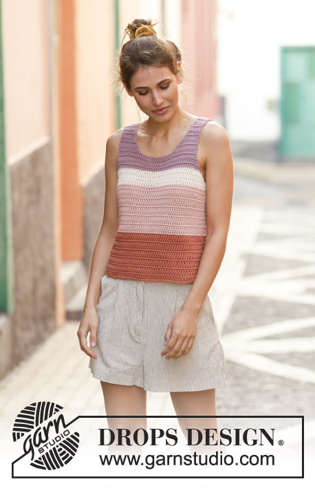 Sorbet Sunday / DROPS 202-30 - Crocheted top in DROPS Paris. Piece is crocheted with stripes. Size: S - XXXL