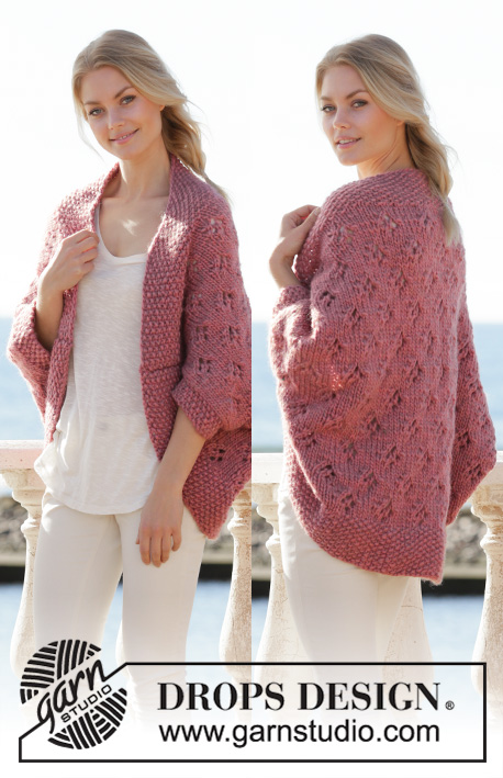 Summer Cocoon / DROPS 202-35 - Knitted vest in DROPS Eskimo. The piece is worked back and forth with lace pattern and moss stitch. Sizes S - XXXL.