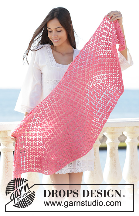 Watermelon Slice / DROPS 202-37 - Crocheted shawl in DROPS Cotton Merino. The piece is worked top down with lace pattern.