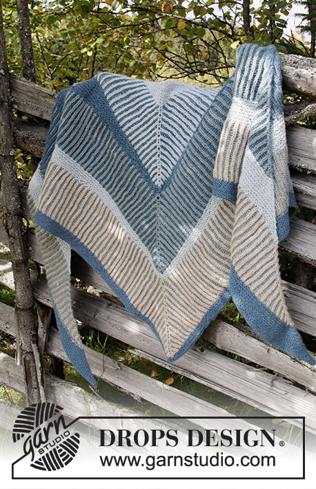 Sandstone Wrap / DROPS 203-16 - Knitted shawl in DROPS Alpaca. The piece is worked top down with stripes and 2-colored English rib.