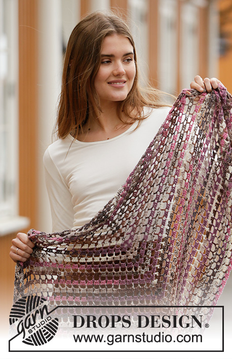 Fragrance of Fall / DROPS 203-21 - Crocheted shawl in DROPS Fabel. Piece is crocheted top down with stripes.