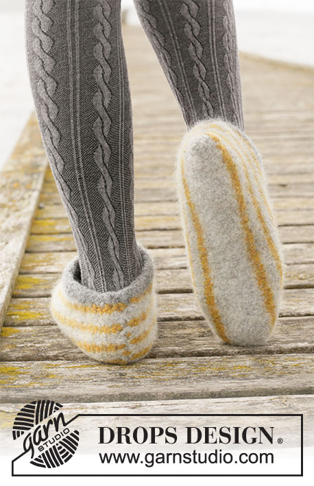 Line Walking / DROPS 203-24 - Knitted and felted slippers with stripes in DROPS Eskimo. Sizes 35-44 = 5-11,5.