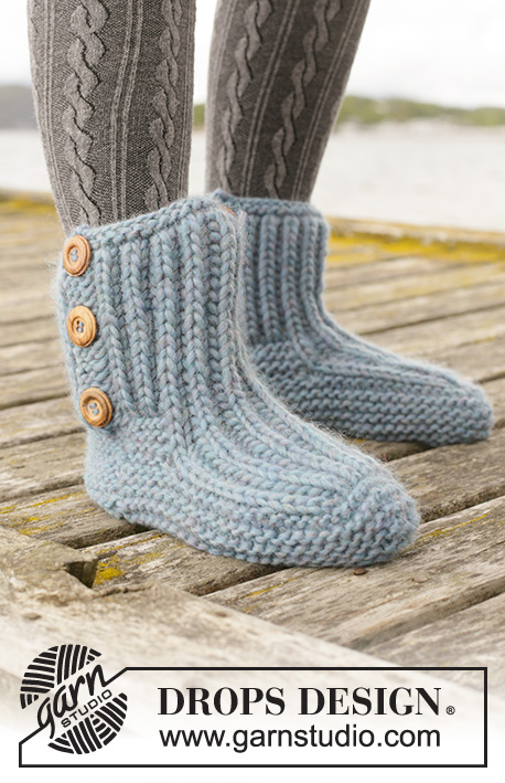 Beyond Boots / DROPS 203-27 - Knitted slippers in DROPS Eskimo. The piece is worked top down with garter stitch and Fisherman`s rib. Sizes 35-42.