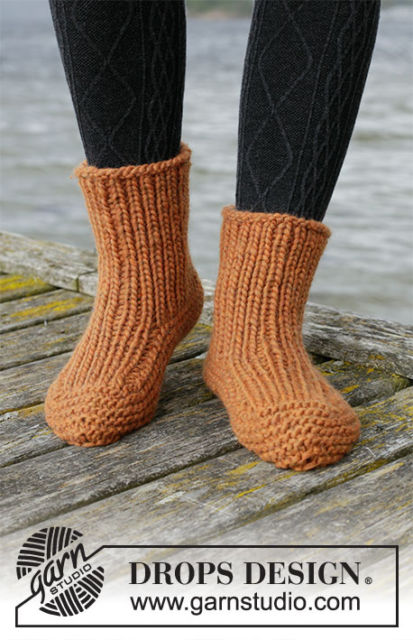 Carrot Squash / DROPS 203-37 - Knitted slippers in DROPS Eskimo. Piece is worked in rib and in garter stitch. Size 35-43.