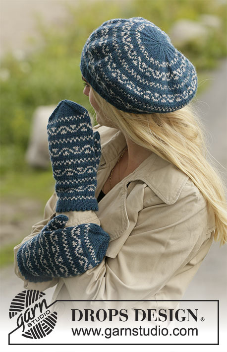 Sideway Vines / DROPS 204-15 - Knitted beret and mittens with Nordic pattern in DROPS Karisma.