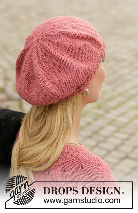 Market Flair / DROPS 204-22 - Knitted beret in DROPS Puna.