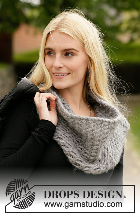 Layer Up / DROPS 204-24 - Knitted neck warmer in 2 strands DROPS Air. Piece is knitted back and forth with lace pattern.