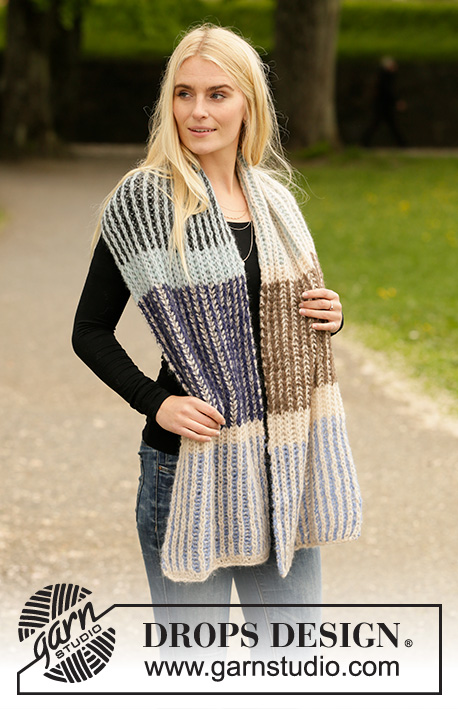 Urban Autumn Scarf / DROPS 204-40 - Knitted scarf in DROPS Air. The piece is worked with 2-coloured English rib and 1-coloured English rib in stripes.