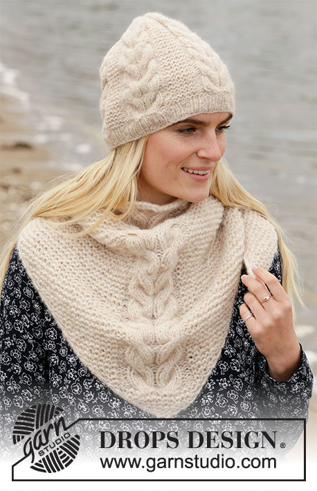 Prairie Winter / DROPS 204-49 - Knitted hat and shawl with garter stitch and cables in DROPS Air.