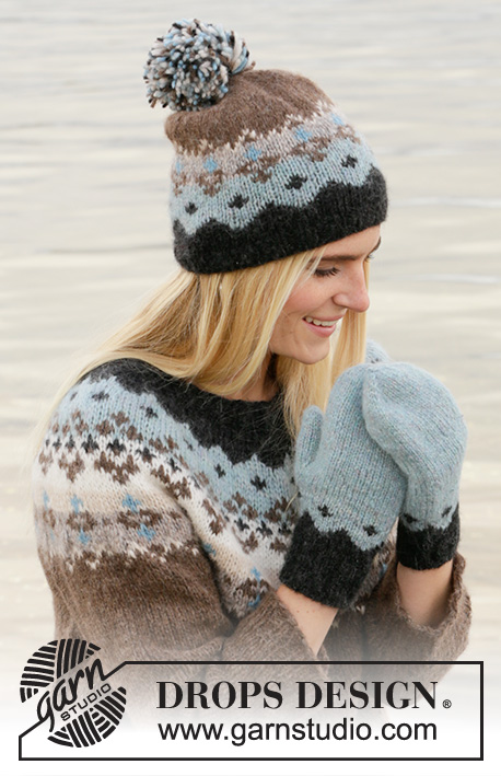 Winter Fjords Set / DROPS 204-51 - Knitted hat and mittens with Nordic pattern in DROPS Air.
