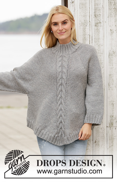 Northern Exposure / DROPS 205-2 - Knitted poncho-jumper with raglan in DROPS Nepal. The piece is worked top down with cables and high neck. Sizes S - XXXL.